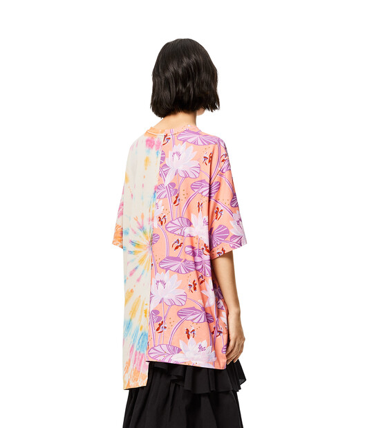 LOEWE Asymmetric Oversize T-Shirt In Waterlily Cotton Salmon/Multicolor front