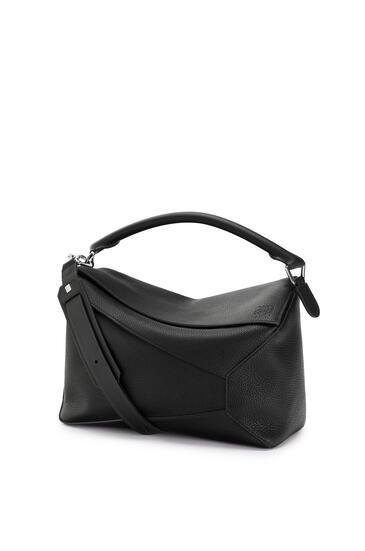 LOEWE Large Puzzle Edge bag in grained calfskin Black pdp_rd