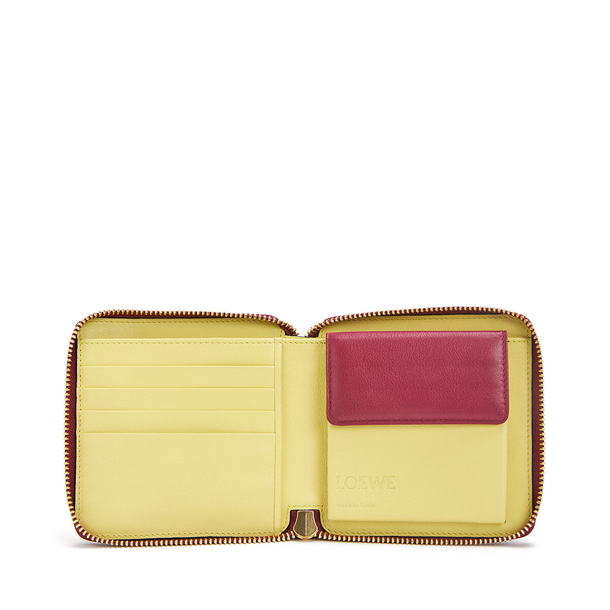 LOEWE Color Block Square Zip Wallet Raspberry/Yellow front