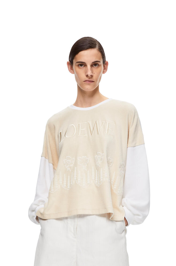 LOEWE Embroidered sweatshirt in cotton Ecru/White pdp_rd