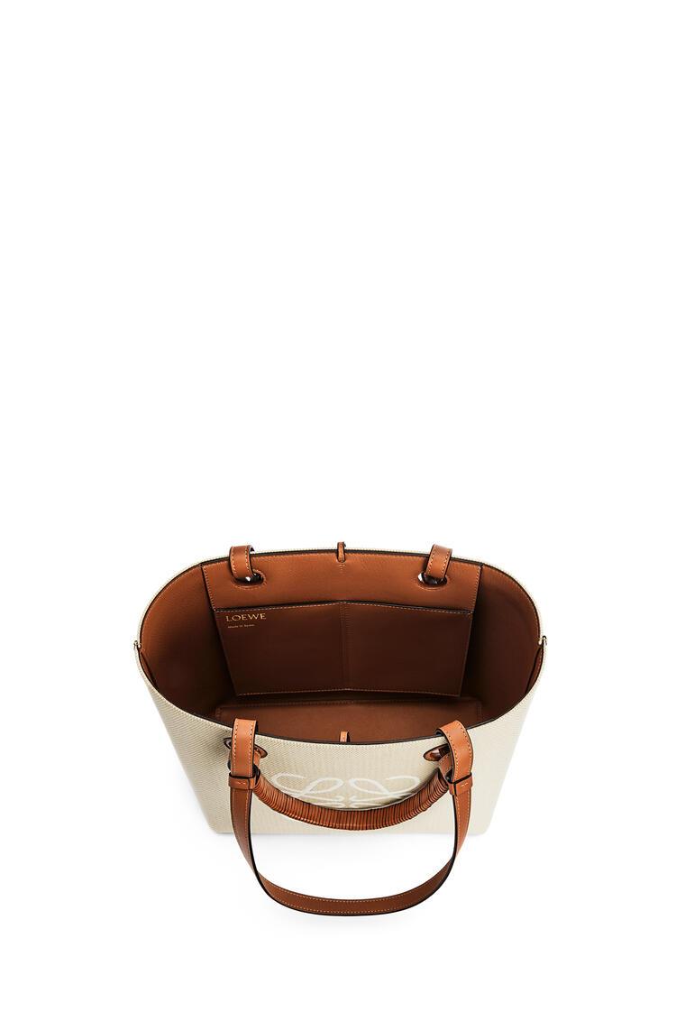 LOEWE Small Anagram Tote bag in jacquard and calfskin Ecru/Tan pdp_rd