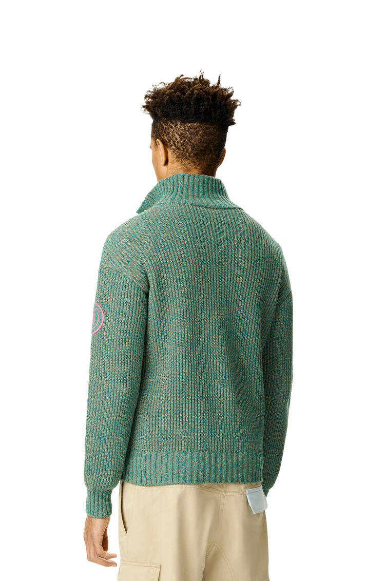 LOEWE Melange high neck sweater in cotton Emerald Green pdp_rd