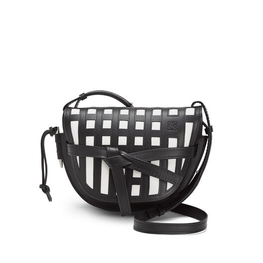 LOEWE Gate Grid Small Bag Black/White front