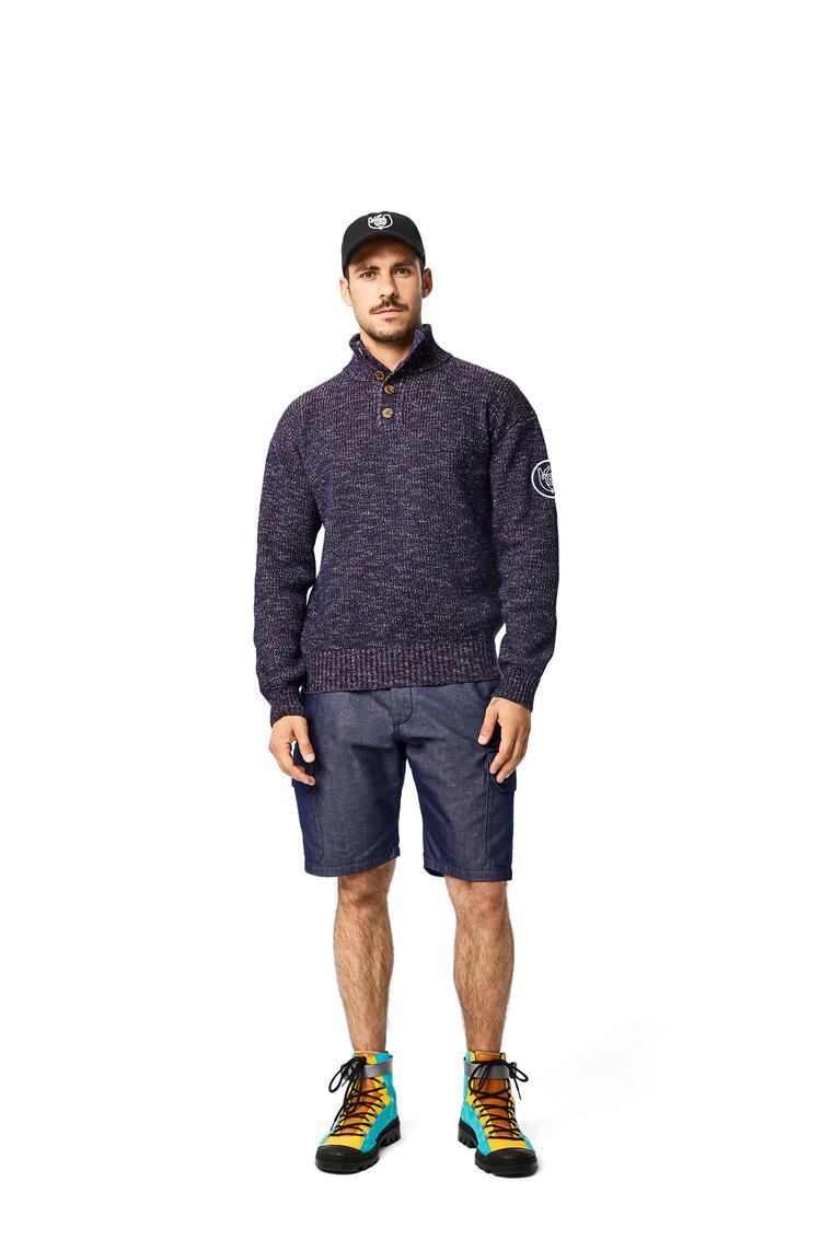LOEWE Melange High Neck Sweater In Cotton Navy Blue pdp_rd