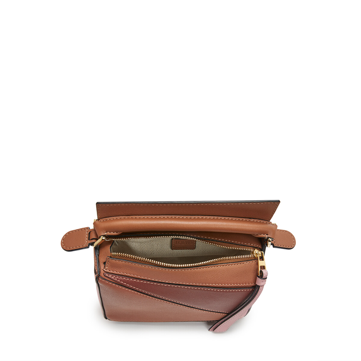 LOEWE Puzzle Mini Bag Tan/Medium Pink front