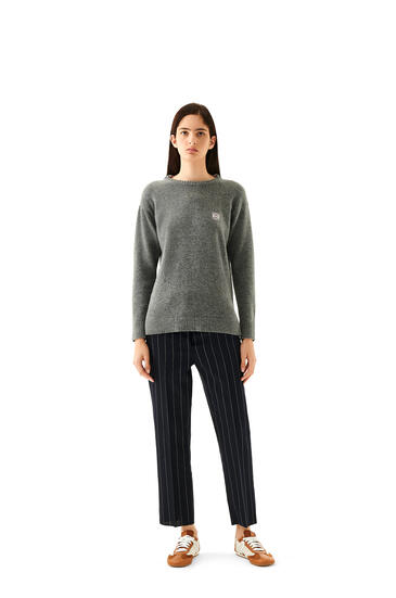 LOEWE Anagram Embroidered Sweater In Wool Grey pdp_rd