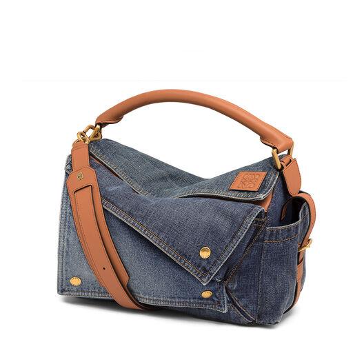 LOEWE Puzzle Pockets Bag Multitone Denim/Tan all