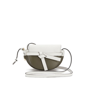 LOEWE Gate Colour Block Mini Bag Soft White/Khaki Green front