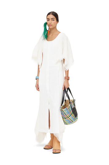 LOEWE Cape Sleeve Dress White front