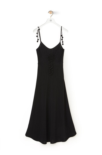 LOEWE Embroidered Knit Dress Black front