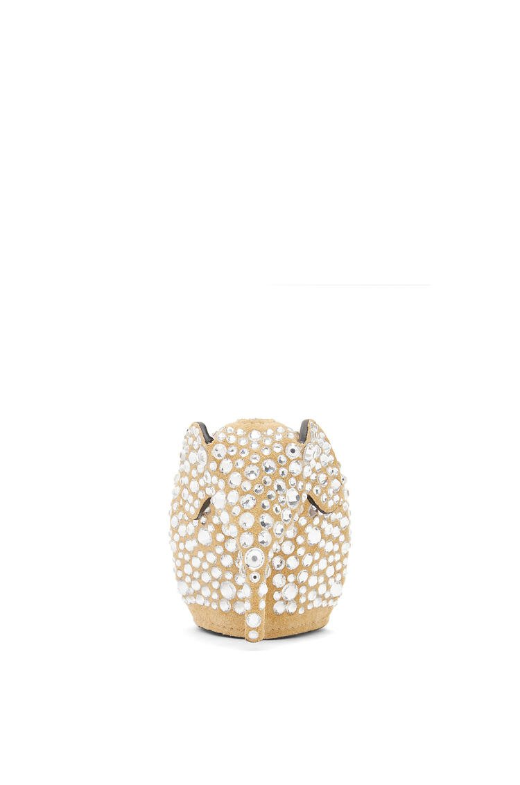 LOEWE Elephant charm in suede and strass Gold/Crystal pdp_rd