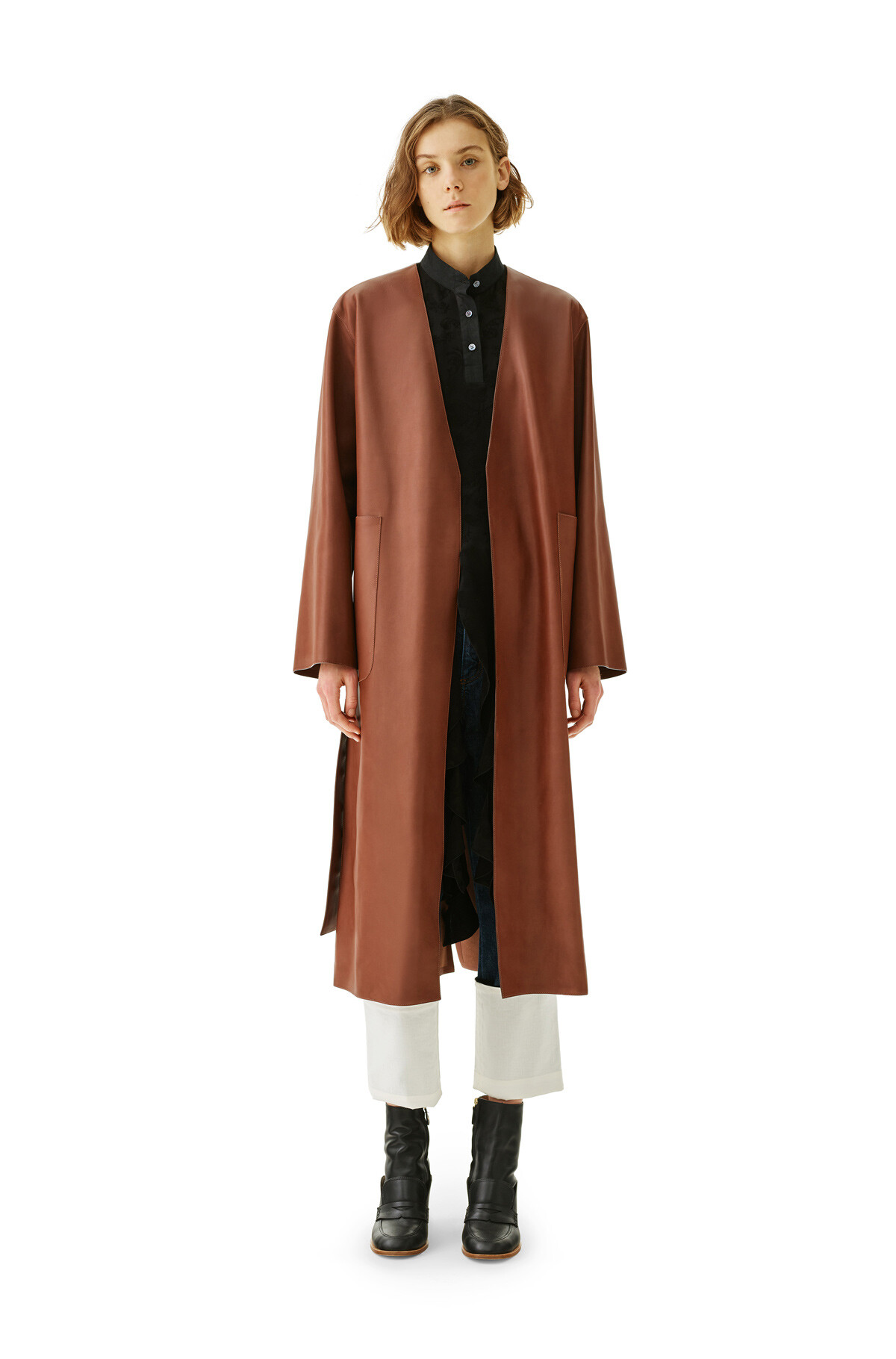 LOEWE Long Coat Dark Brown front