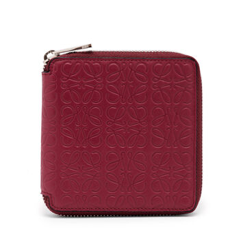 LOEWE Square Zip Wallet 覆盆莓色 front