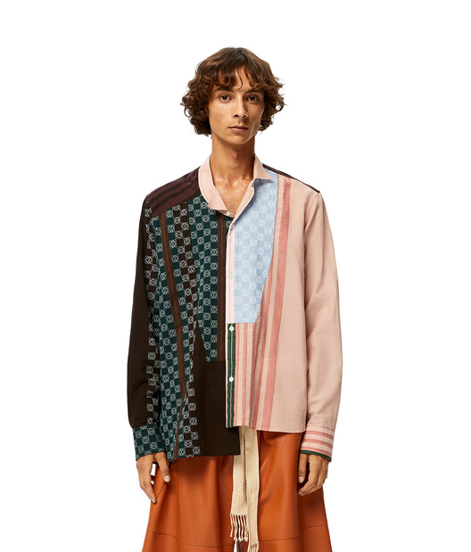 LOEWE Stripe Anagram Asym Shirt Brown/Pink front