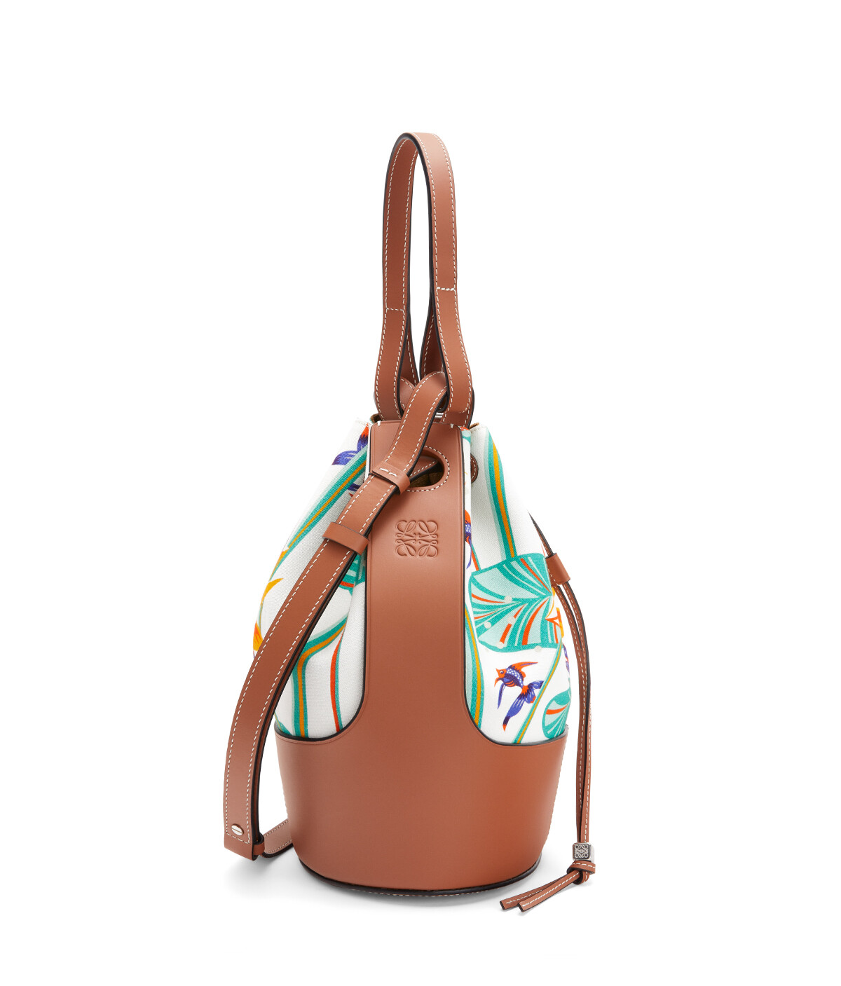 LOEWE Balloon Bag In Waterlily Canvas And Calfskin White/Tan front