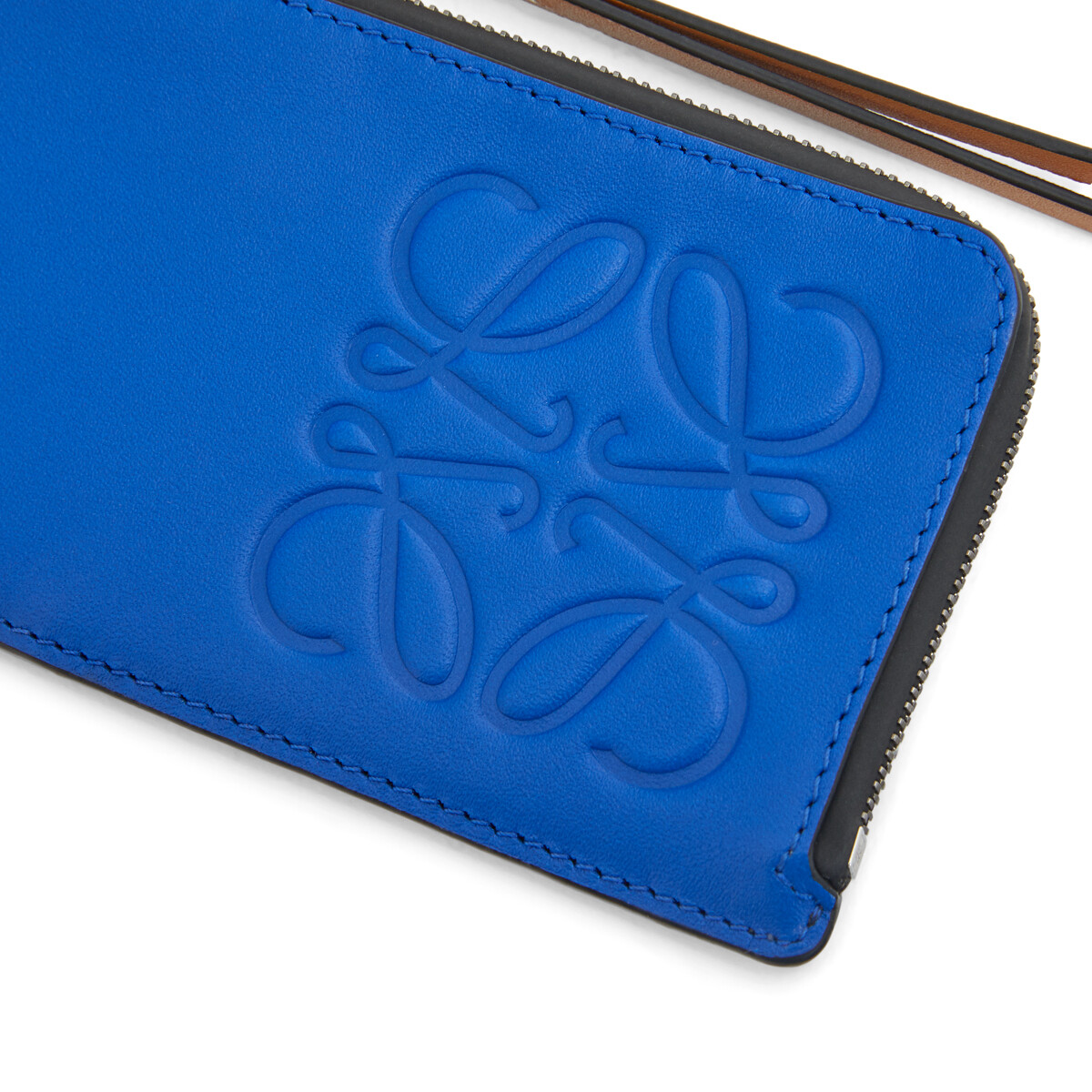LOEWE Brand Coin Cardholder Large Electric Blue/Orange front
