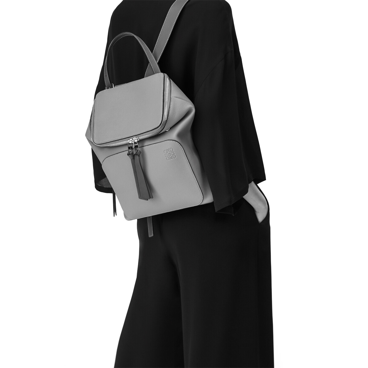 LOEWE Goya Small Backpack Black/Pecan front