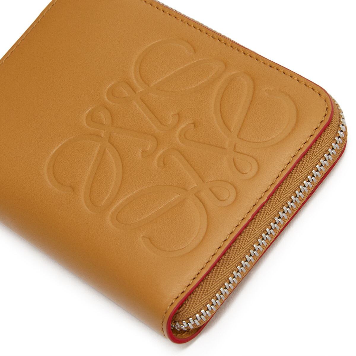 LOEWE Brand 6 Card Zip Wallet Honey front