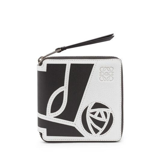 LOEWE Puzzle Square Zip Wallet Roses 白色/黑色 front