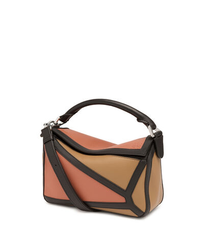 LOEWE Puzzle Graphic Small Bag Pink Tulip/Mocca front