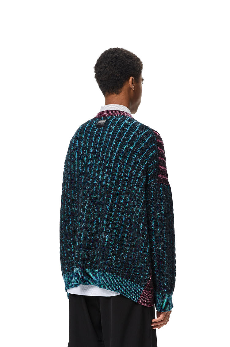 LOEWE Cable knit oversize cardigan in wool Black/Pink pdp_rd