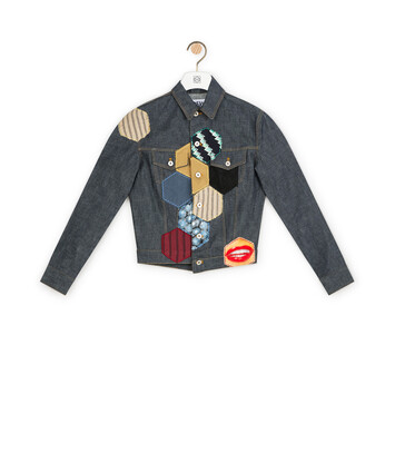 LOEWE Denim Jacket Patches Navy Blue/Multicolor front