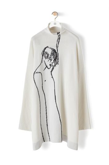 LOEWE Portrait Turtleneck Sweater Ecru/Black front