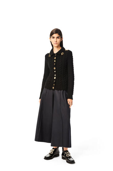 LOEWE Gold button cardigan in wool Black pdp_rd