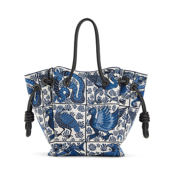 LOEWE Flamenco Knot Tote Tiles Small Blue front