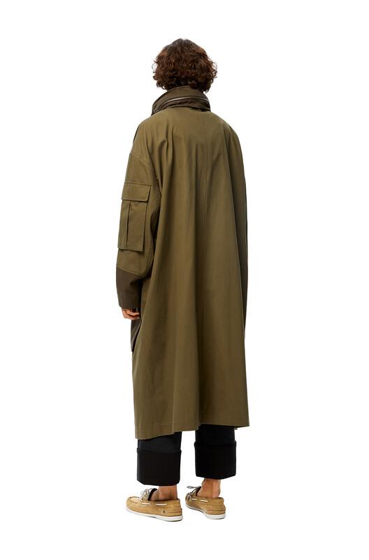 LOEWE Patch Pocket Hooded Parka Khaki Green front