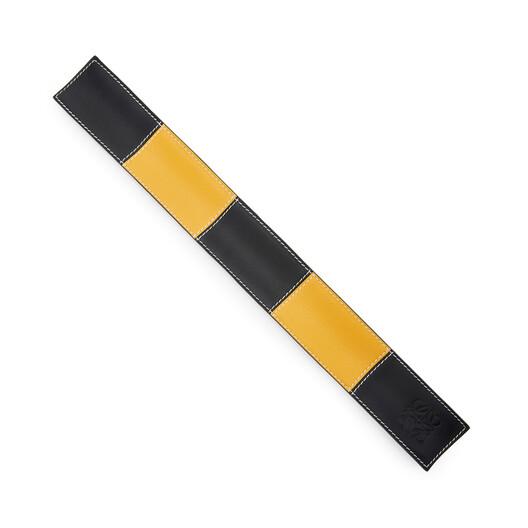 LOEWE Big Patchwork Slap Bracelet Black/Yellow front