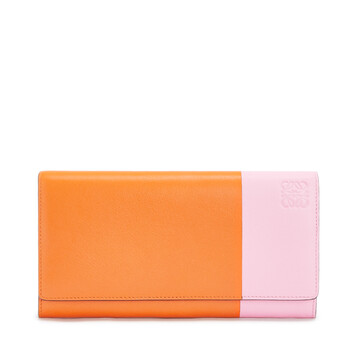 LOEWE Color Block Continental Wallet 橘色/糖果色 front