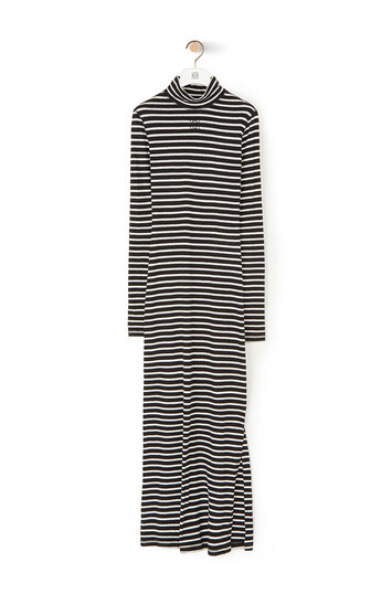 LOEWE Stripe High Neck Jersey Dress Ecru/Black front