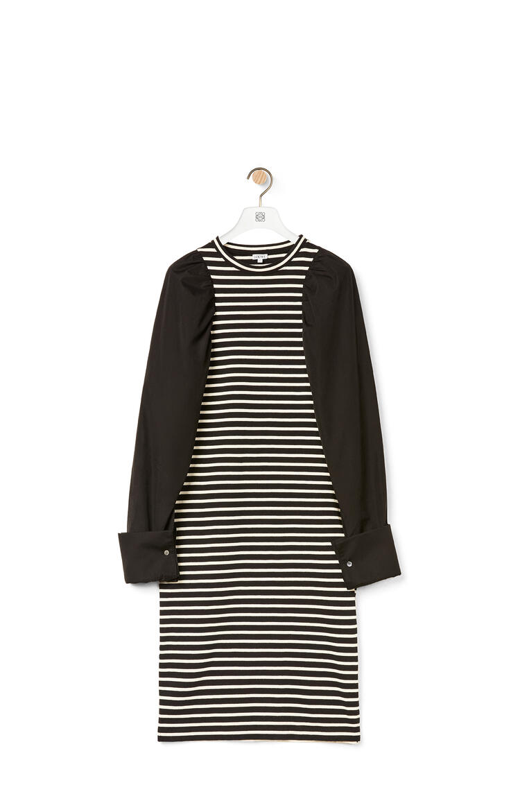 LOEWE Long sleeve t-shirt in striped cotton Black/Ecru pdp_rd