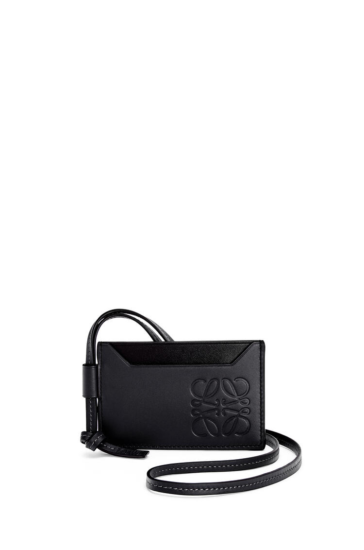 LOEWE Plain cardholder necklace in classic calfskin Black pdp_rd