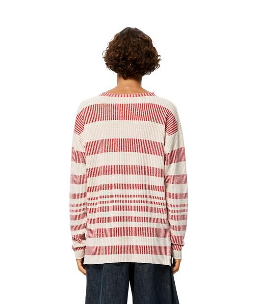 LOEWE Stripe Rib Sweater Beige/Red front