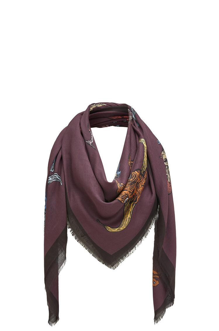 LOEWE 140 x 140 cm alphabet scarf in modal and cashmere Violet pdp_rd