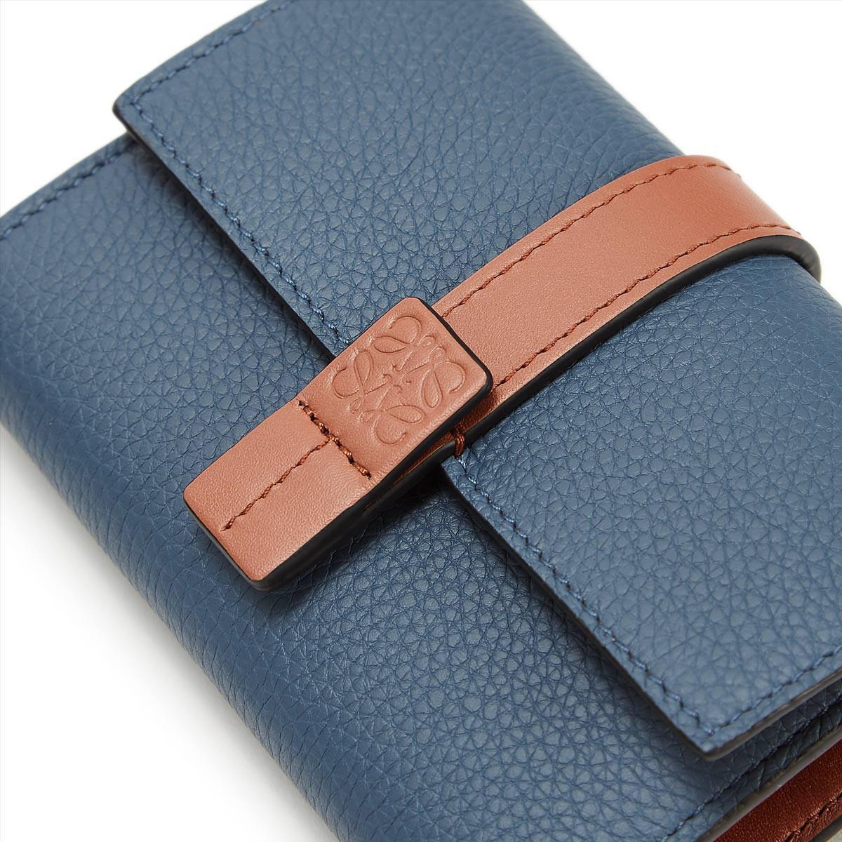 LOEWE Small Vertical Wallet Steel Blue/Tan front
