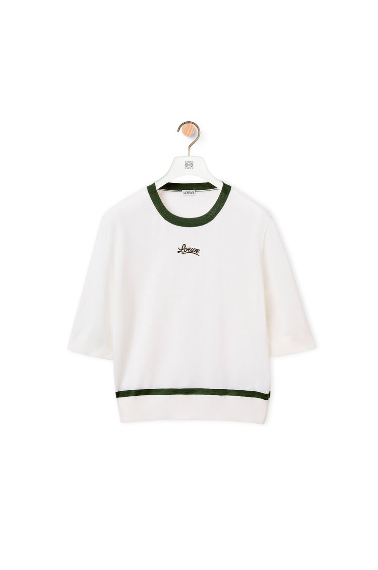 LOEWE LOEWE lurex embroidered cropped sweater in wool White/Khaki Green pdp_rd