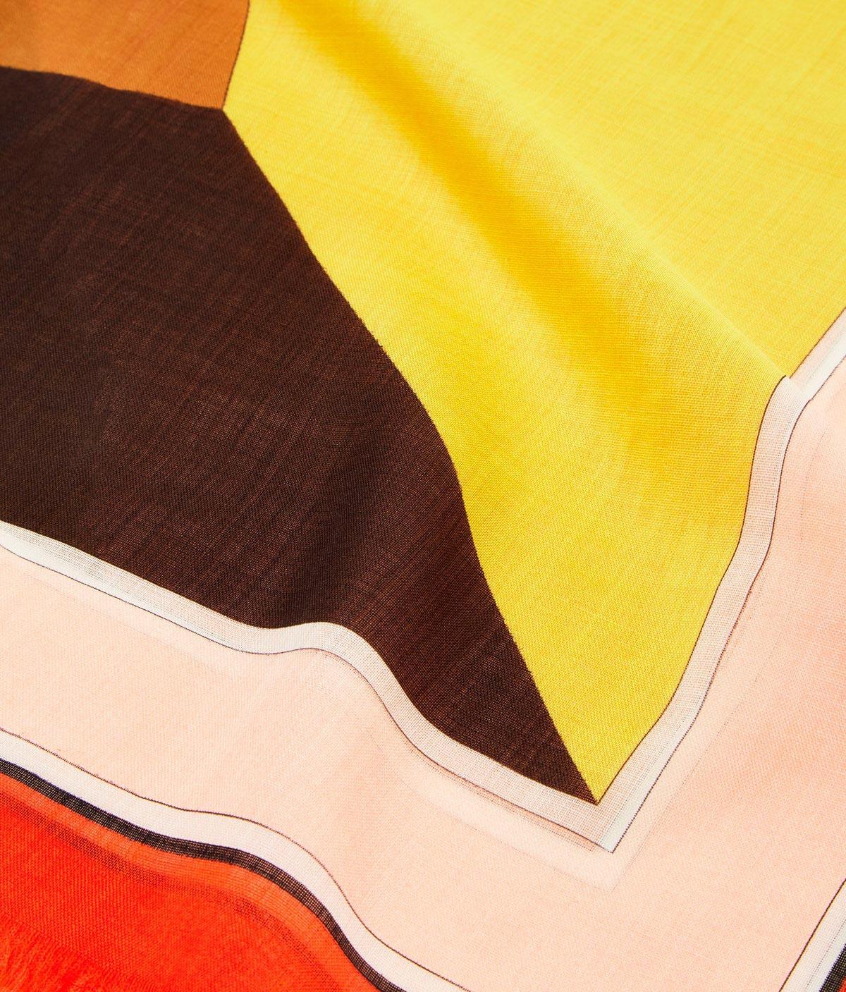LOEWE 140X140 Scarf Puzzle Border Orange front
