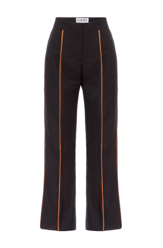 Tan Piping Cropped Trousers