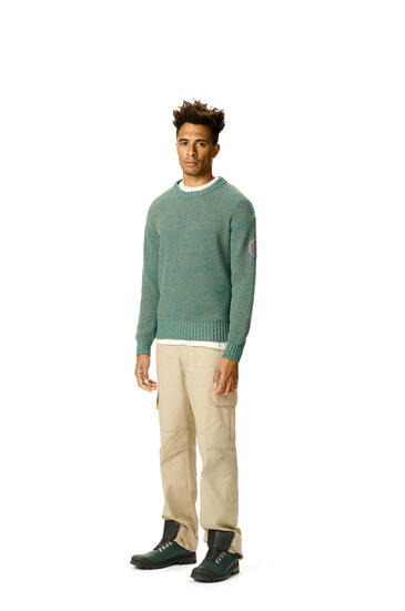 LOEWE Melange crewneck sweater in cotton Emerald Green pdp_rd