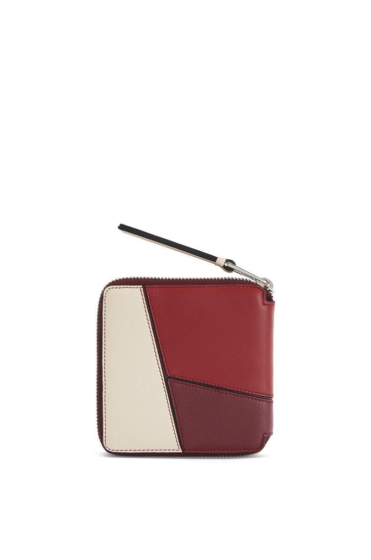 LOEWE Cartera Puzzle Square zip en piel de ternera clásica Vino/Granate pdp_rd