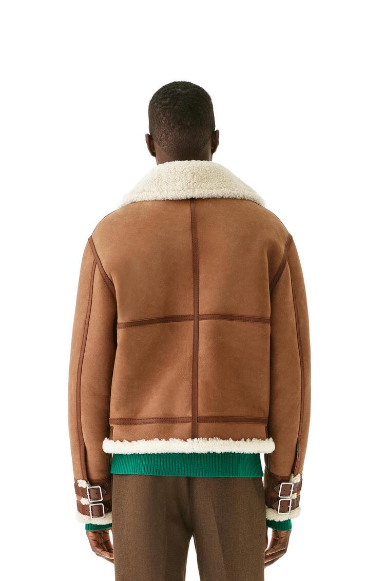 LOEWE Shearling aviator jacket in novack and nappa 深褐 pdp_rd