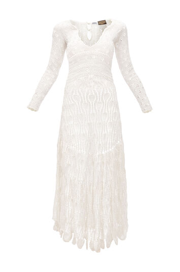 LOEWE Paula Crochet Dress Off-White front