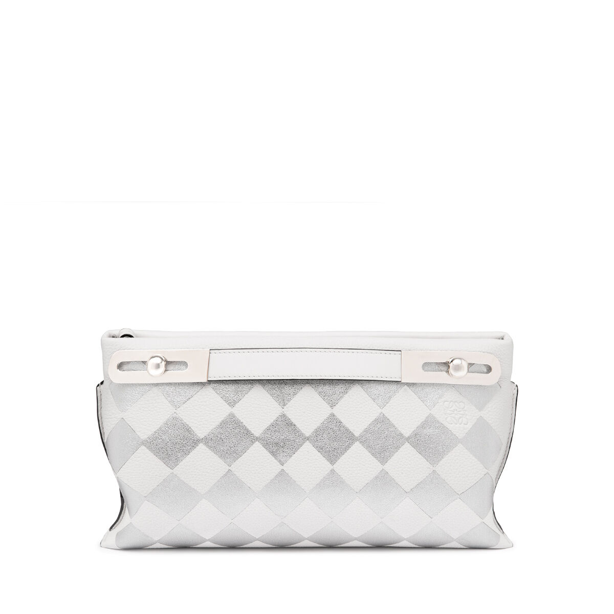 LOEWE Bolso Missy Checks Pequeño Blanco/Plata all