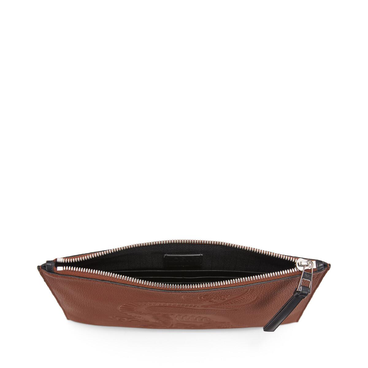 LOEWE Flat Pouch Dragon Cognac front