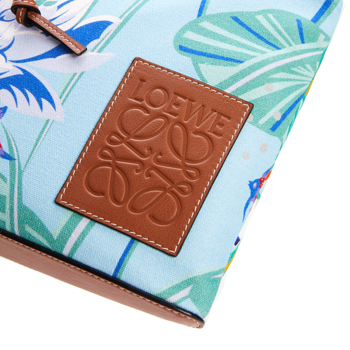 LOEWE Oblong Pouch In Waterlily Canvas Aqua/White front
