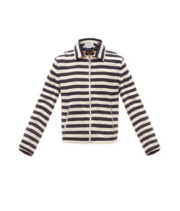 LOEWE Paula Stripe Towel Zip Jacket Ecru/Navy Blue front