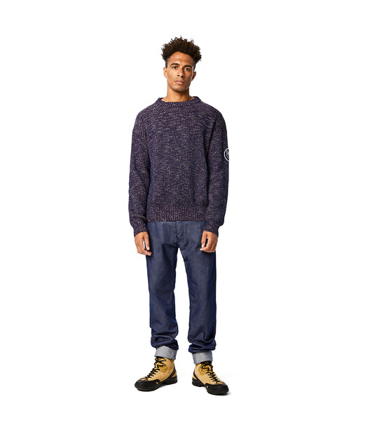 LOEWE Eln Melange Crewneck Sweater Navy Blue front